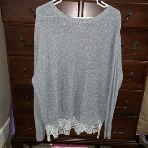 Urban Outfitters Light Gray Crochet + Lace Sweater